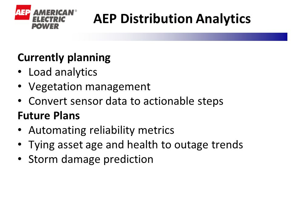 AEP Distribution Analytics