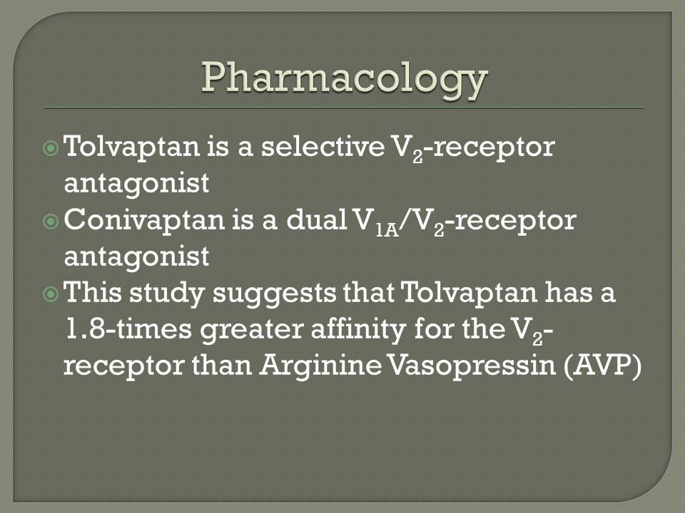 Pharmacology Tolvaptan is a selective V2-receptor antagonist