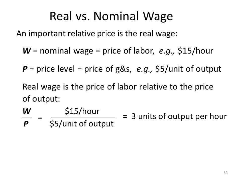 Real vs. Nominal Wage An important relative price is the real wage: W = nominal wage = price of labor, e.g., $15/hour.