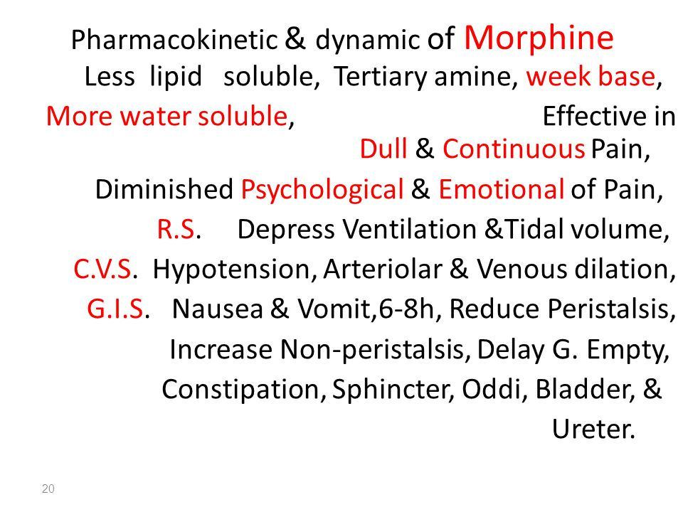 Pharmacokinetic & dynamic of Morphine