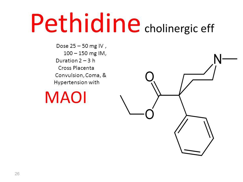 Pethidine cholinergic eff