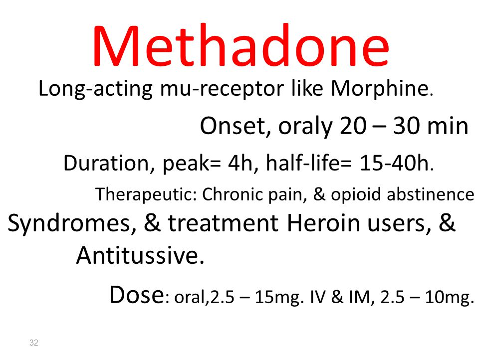 Methadone Onset, oraly 20 – 30 min