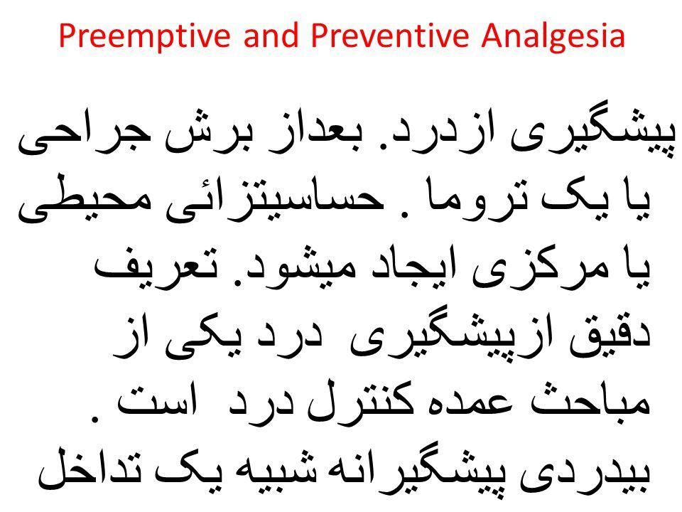 Preemptive and Preventive Analgesia