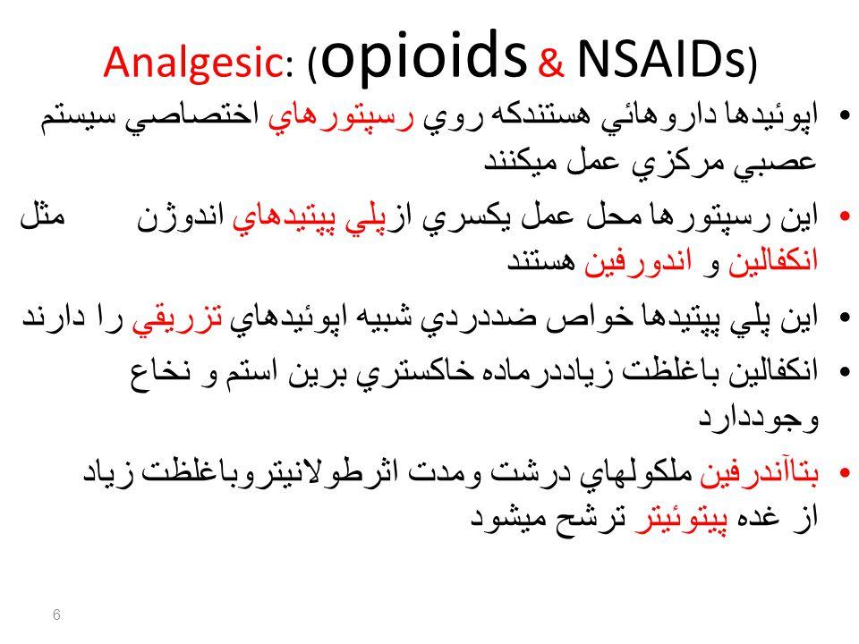 Analgesic: (opioids & NSAIDs)
