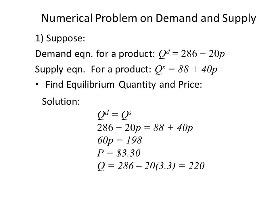 Numerical Problem on Demand and Supply