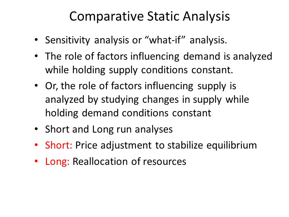 Comparative Static Analysis
