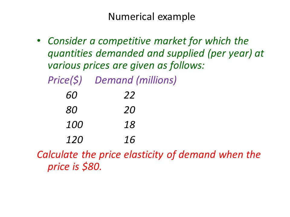 Numerical example Consider a competitive market for which the quantities demanded and supplied (per year) at various prices are given as follows: