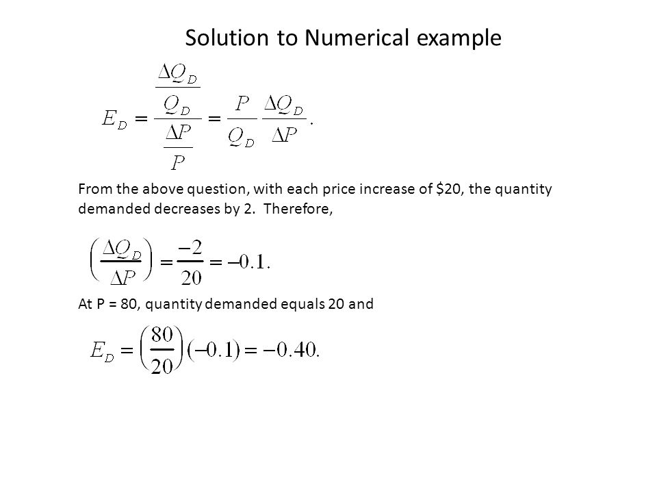 Solution to Numerical example