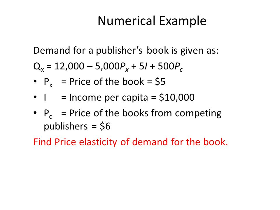 Numerical Example Demand for a publisher's book is given as: