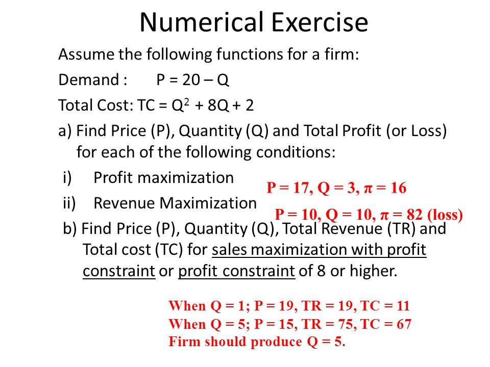 Numerical Exercise Assume the following functions for a firm: