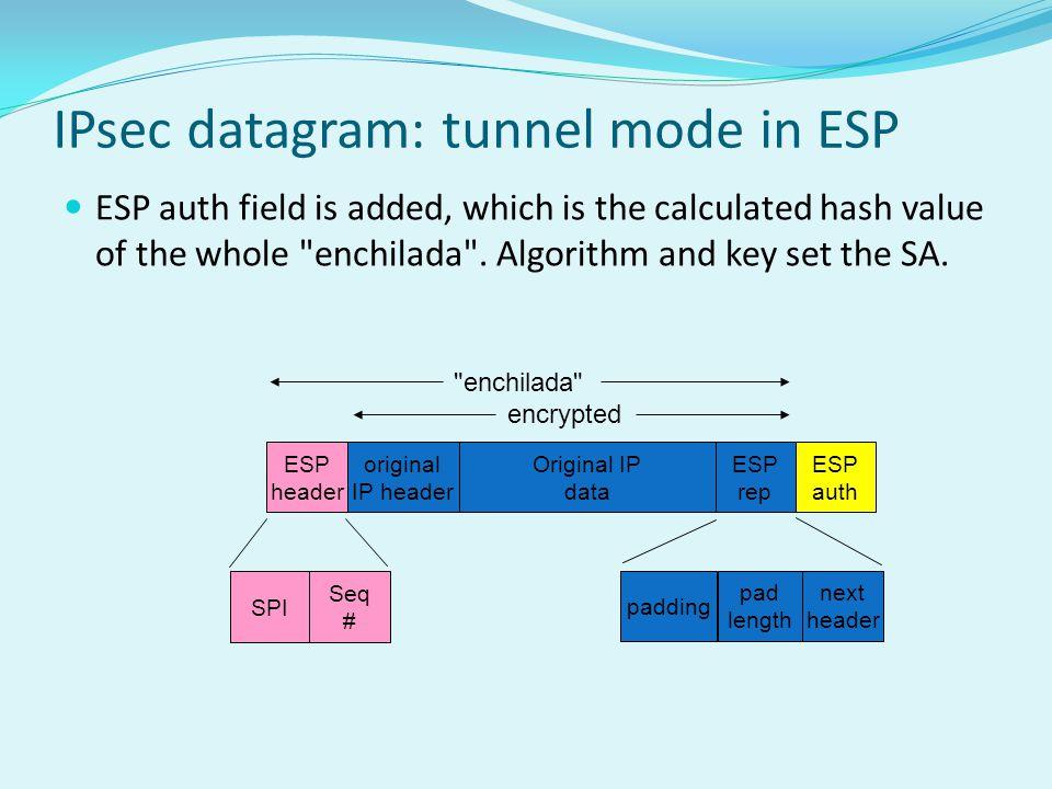IPsec datagram: tunnel mode in ESP