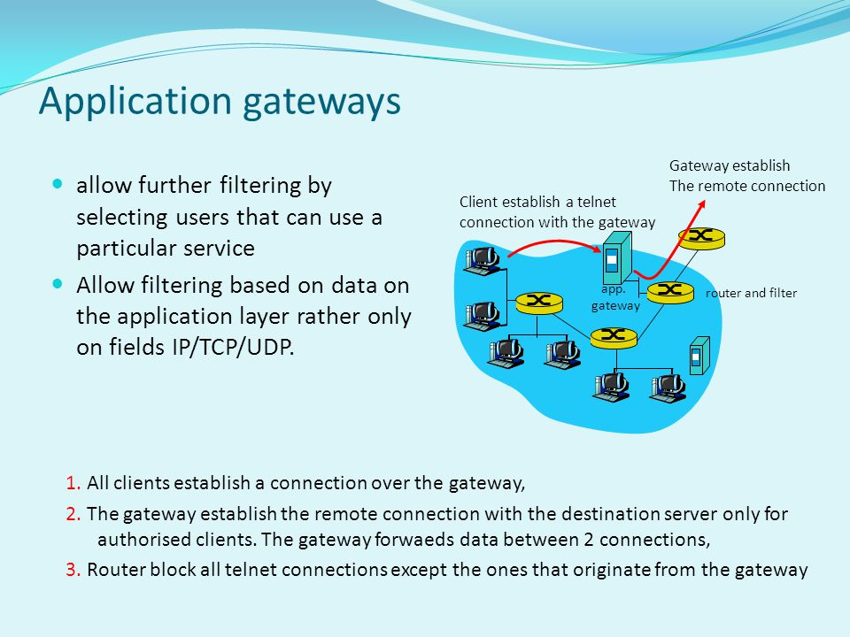 Application gateways Gateway establish. The remote connection. allow further filtering by selecting users that can use a particular service.
