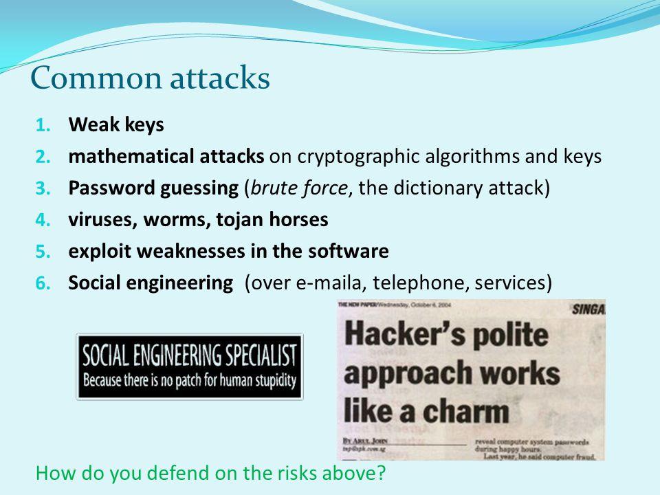 Common attacks Weak keys