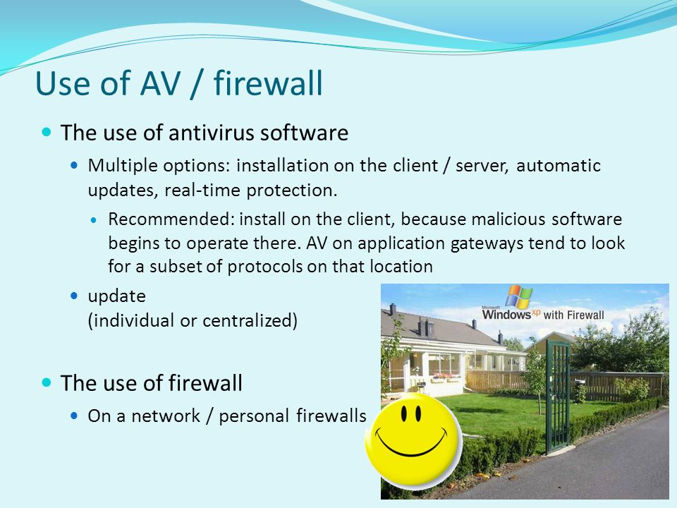 Use of AV / firewall The use of antivirus software The use of firewall