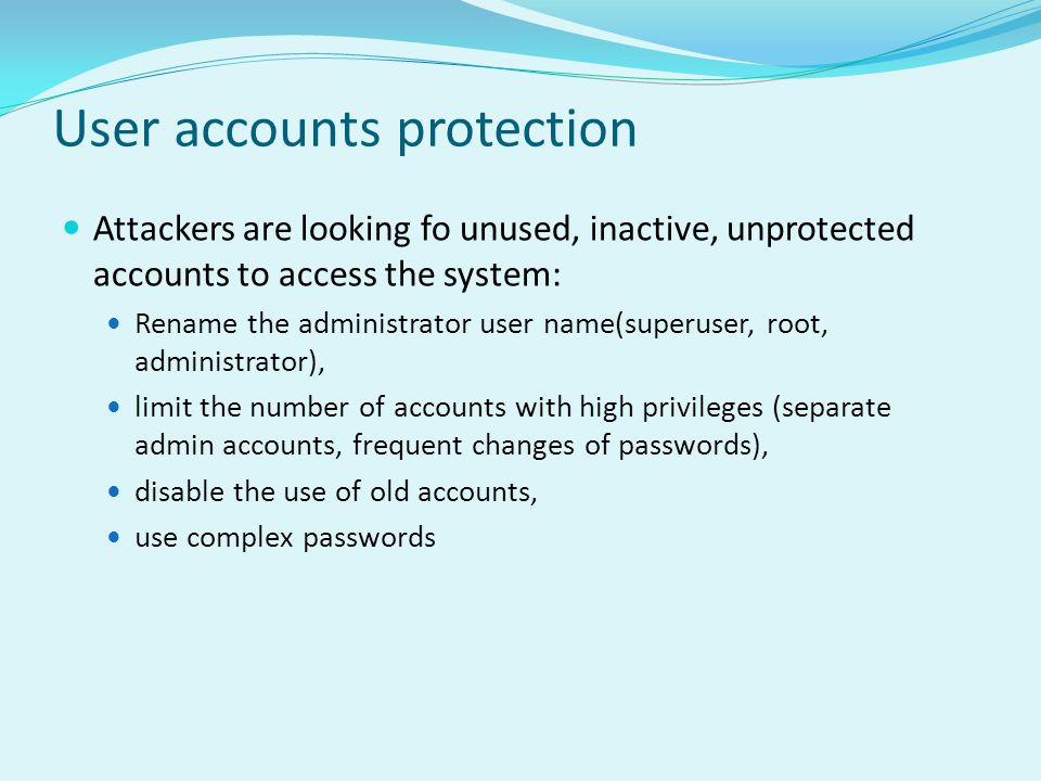 User accounts protection
