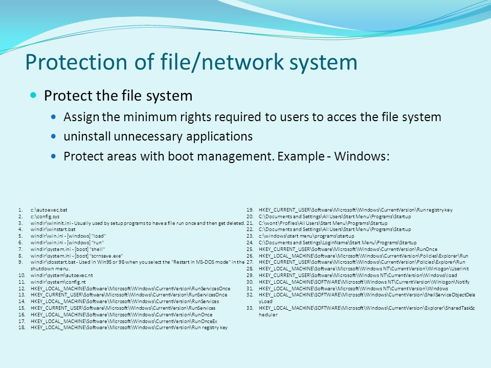 Protection of file/network system