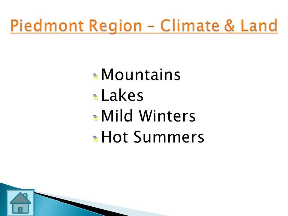 Piedmont Region – Climate & Land