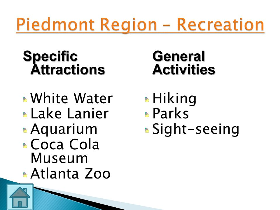 Piedmont Region – Recreation