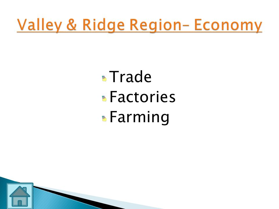 Valley & Ridge Region– Economy