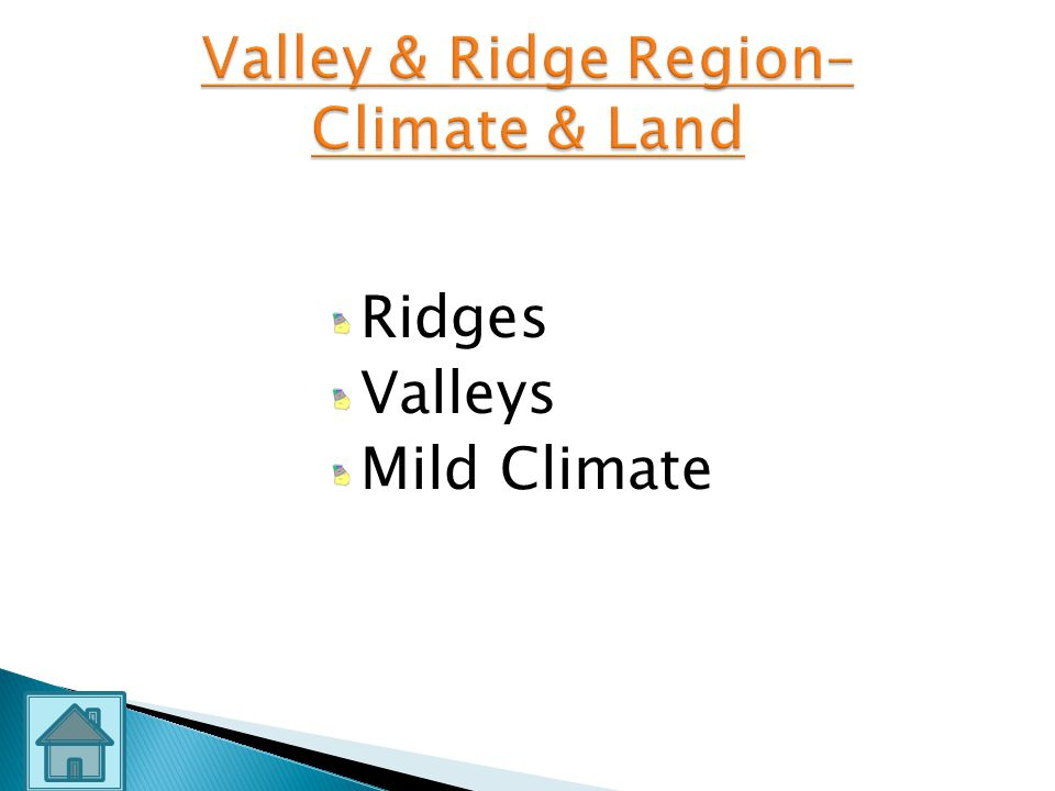 Valley & Ridge Region– Climate & Land