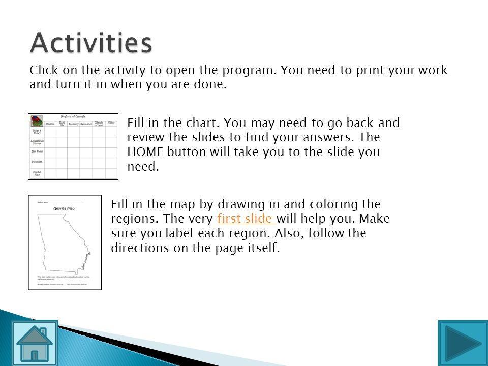 Activities Click on the activity to open the program. You need to print your work and turn it in when you are done.