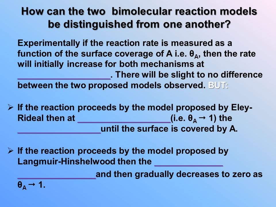 How can the two bimolecular reaction models be distinguished from one another