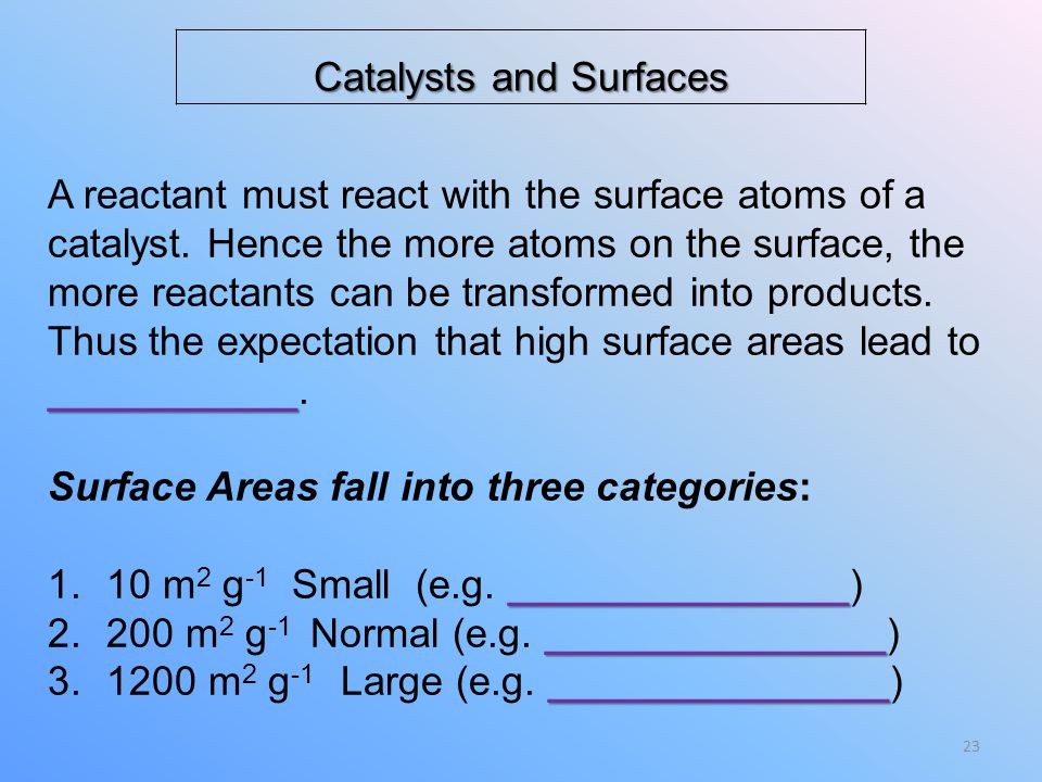 Catalysts and Surfaces