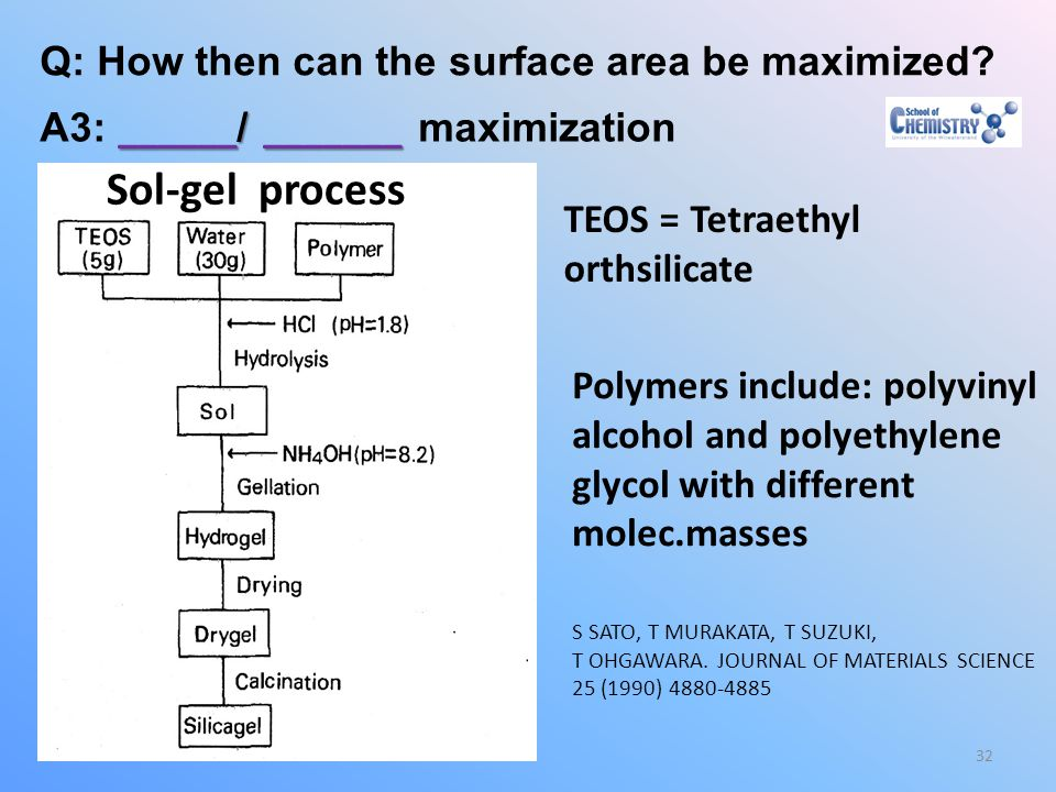 Sol-gel process Q: How then can the surface area be maximized