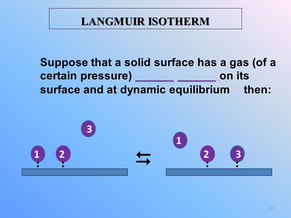 LANGMUIR ISOTHERM Suppose that a solid surface has a gas (of a certain pressure) _______ _______ on its surface and at dynamic equilibrium then: