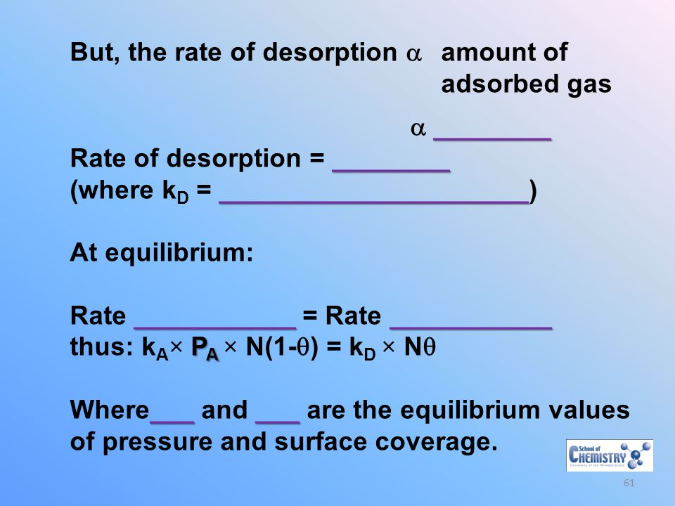 But, the rate of desorption  amount of adsorbed gas