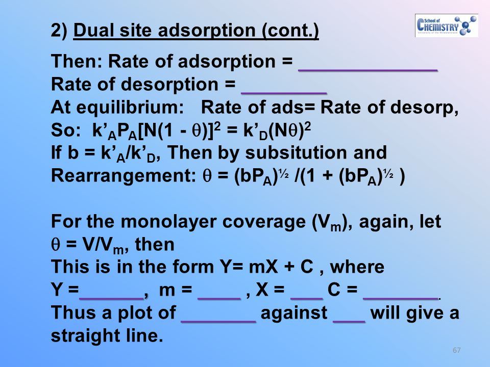 2) Dual site adsorption (cont.)