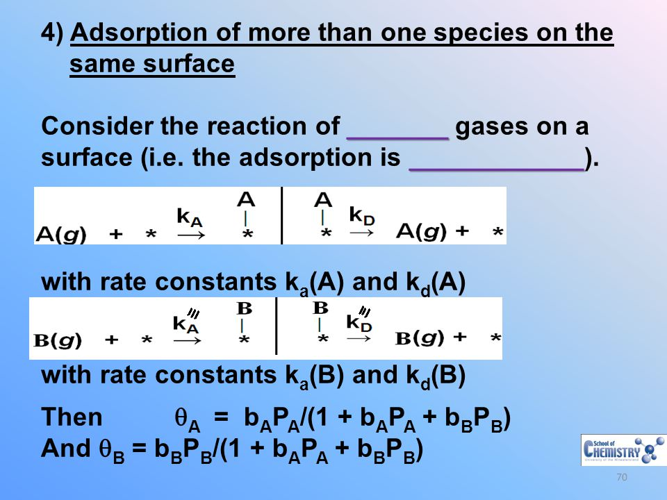4) Adsorption of more than one species on the