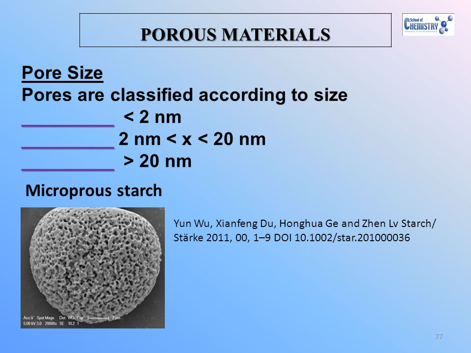 Pores are classified according to size _________ < 2 nm