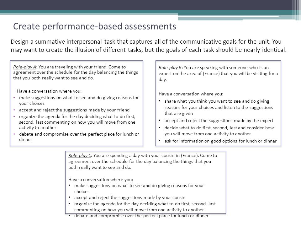 Create performance-based assessments