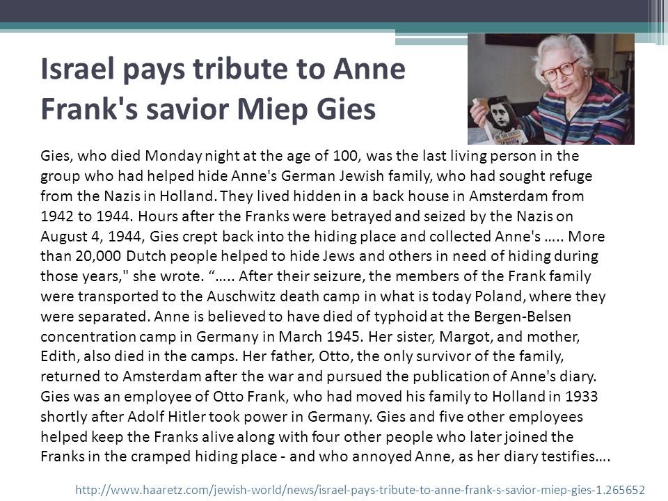 Israel pays tribute to Anne Frank s savior Miep Gies