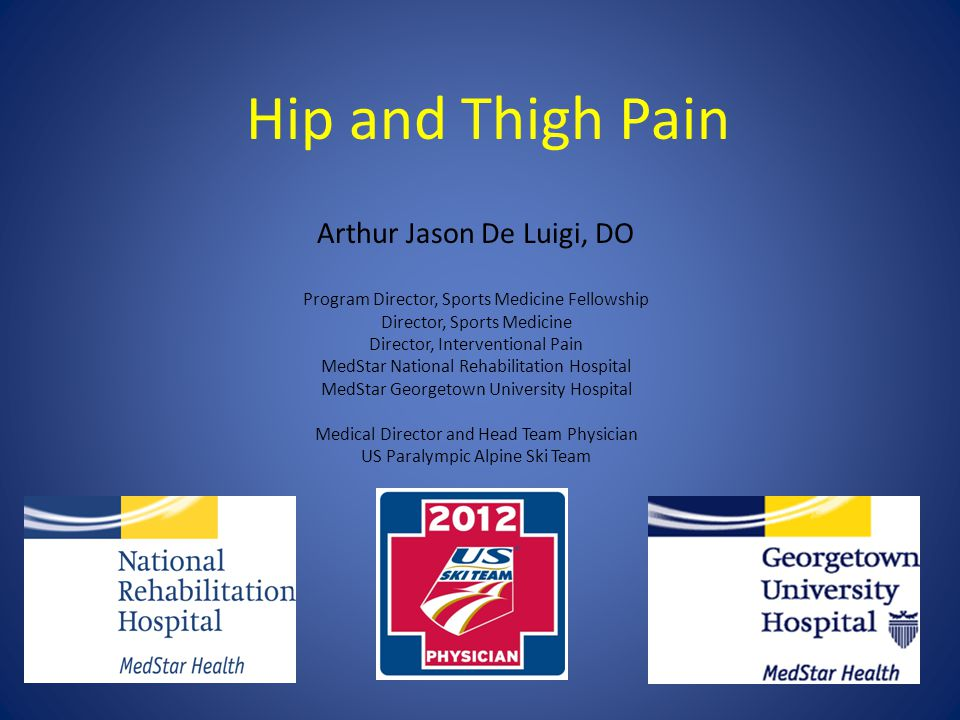 Hip and Thigh Pain Arthur Jason De Luigi, DO