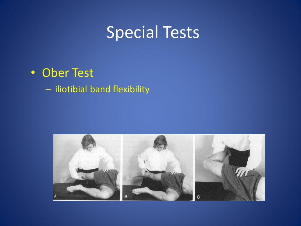 Special Tests Ober Test iliotibial band flexibility