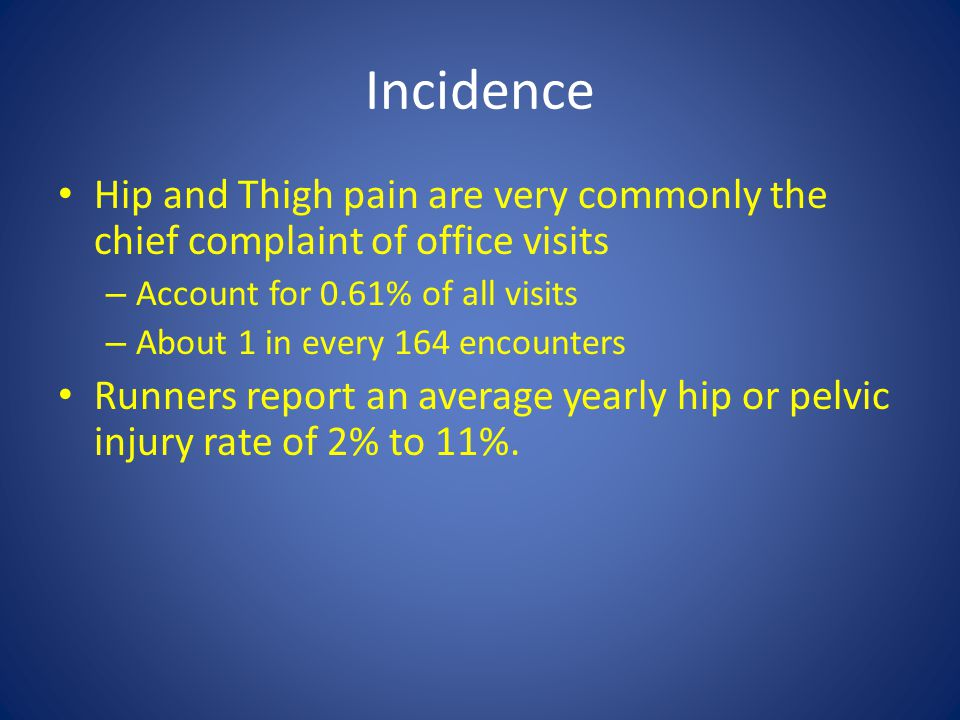 Incidence Hip and Thigh pain are very commonly the chief complaint of office visits. Account for 0.61% of all visits.