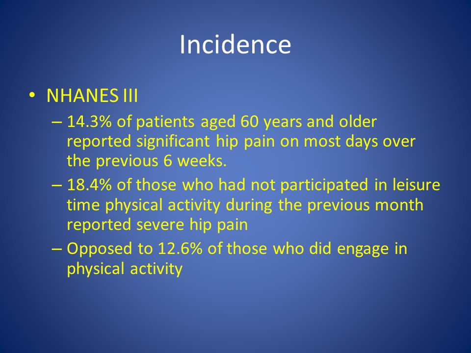 Incidence NHANES III. 14.3% of patients aged 60 years and older reported significant hip pain on most days over the previous 6 weeks.
