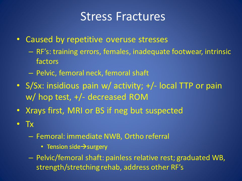 Stress Fractures Caused by repetitive overuse stresses