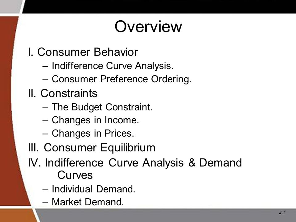 Overview I. Consumer Behavior II. Constraints