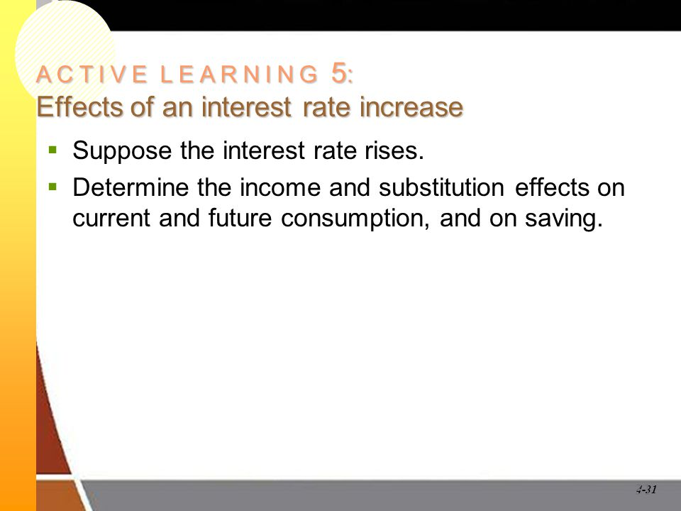 A C T I V E L E A R N I N G 5: Effects of an interest rate increase