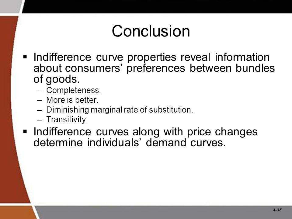 Conclusion Indifference curve properties reveal information about consumers' preferences between bundles of goods.