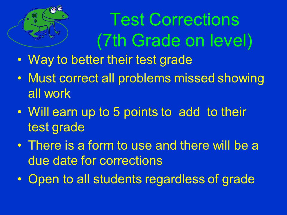 Test Corrections (7th Grade on level)