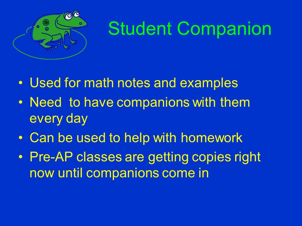 Student Companion Used for math notes and examples