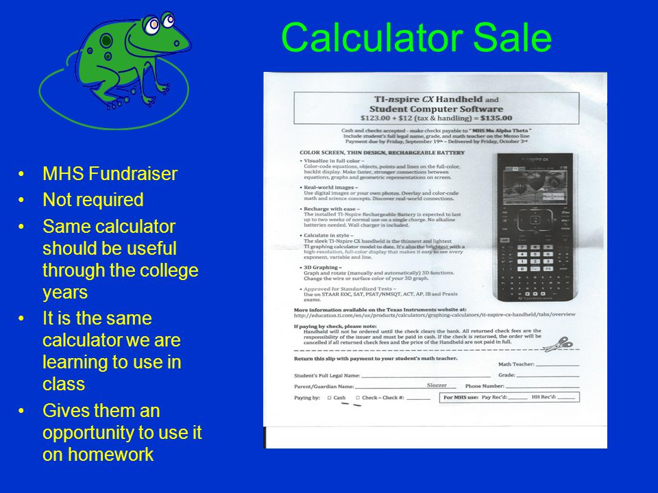 Calculator Sale MHS Fundraiser Not required