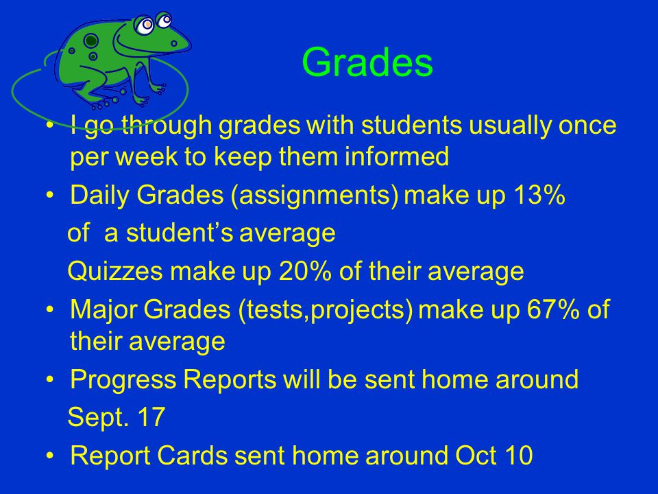Grades I go through grades with students usually once per week to keep them informed. Daily Grades (assignments) make up 13%