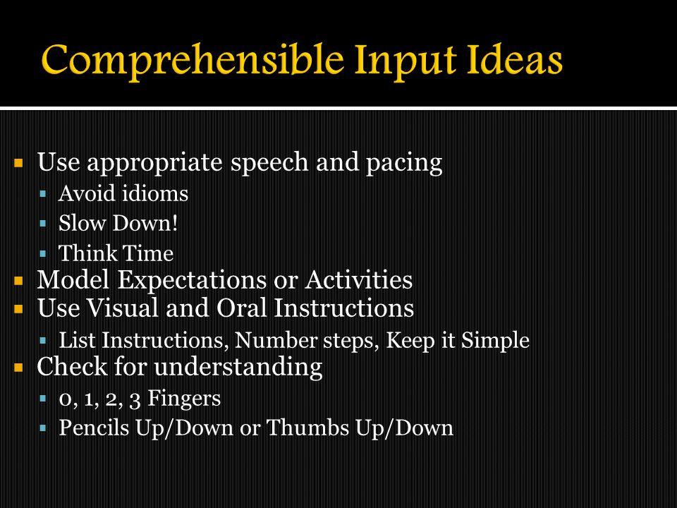 Comprehensible Input Ideas