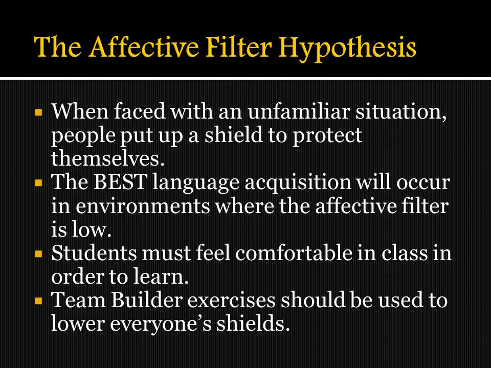 The Affective Filter Hypothesis
