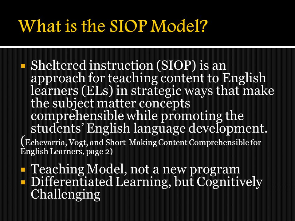 What is the SIOP Model